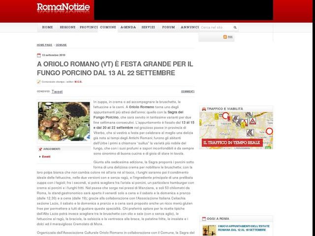 A Oriolo Romano (VT) è festa grande per il fungo porcino dal 13 al 22 settembre
