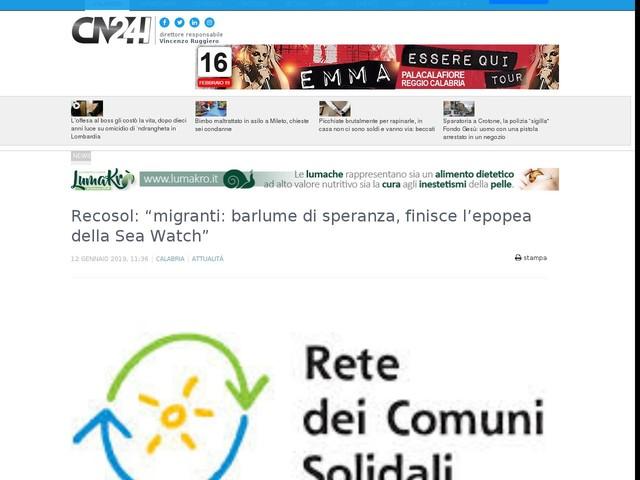"""Recosol: """"migranti: barlume di speranza, finisce l'epopea della Sea Watch"""""""