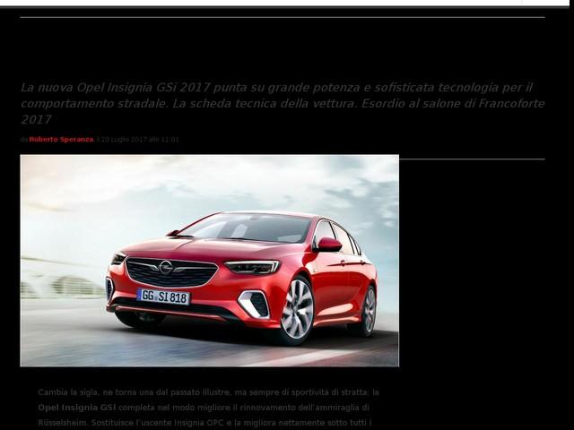 Opel Insignia GSi 2017: scheda tecnica dell'ammiraglia sportiva [FOTO]