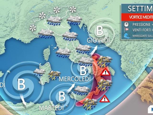 METEO ITALIA - Ciclone mediterraneo, severa ondata di MALTEMPO nei prossimi giorni, dettagli