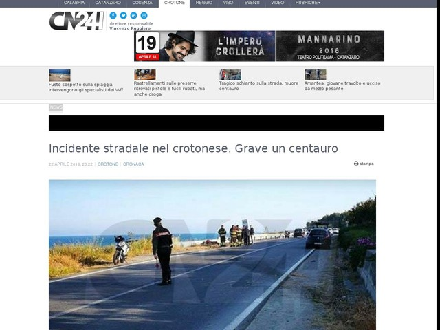 Incidente stradale nel crotonese. Grave un centauro