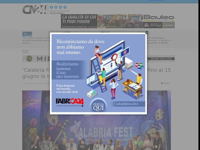 'Calabria Fest tutta italiana 2020': proseguiranno fino al 15 giugno le iscrizioni