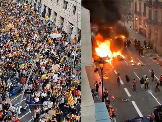 Barcellona, oltre 500mila persone in piazza: barricate e scontri con la polizia. Le immagini