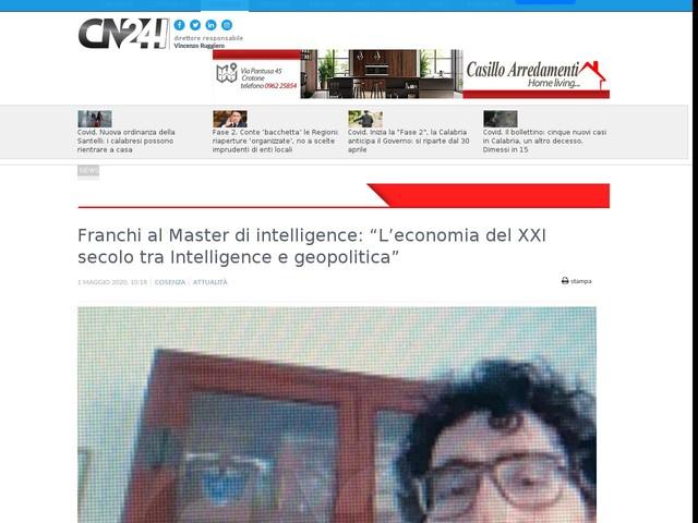 """Franchi al Master di intelligence: """"L'economia del XXI secolo tra Intelligence e geopolitica"""""""
