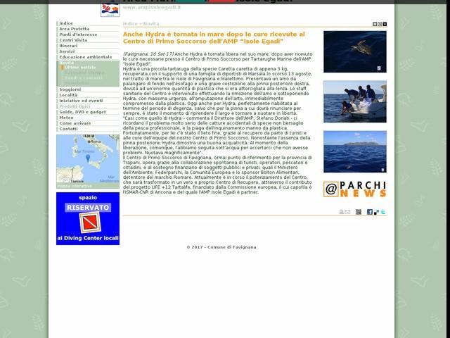 """AMP Isole Egadi - Anche Hydra è tornata in mare dopo le cure ricevute al Centro di Primo Soccorso dell'AMP """"Isole Egadi"""""""