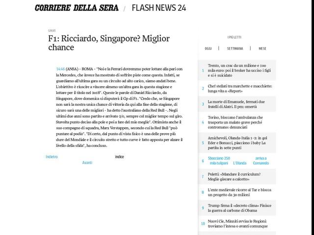 F1: Ricciardo, Singapore? Miglior chance