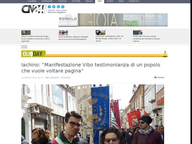 """Iachino: """"Manifestazione Vibo testimonianza di un popolo che vuole voltare pagina"""""""