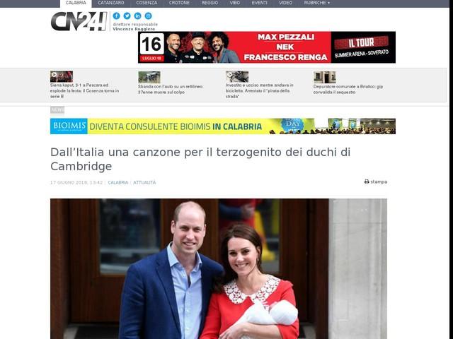 Dall'Italia una canzone per il terzogenito dei duchi di Cambridge