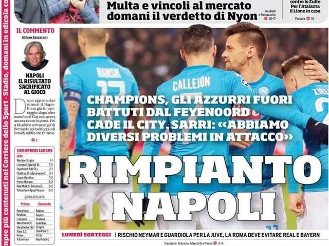 """PRIME PAGINE / """"Rimpianto Napoli. Sarri, ora ti resta l'Europa League"""""""