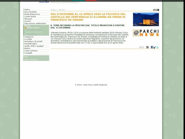 PR Madonie - DAL 8 DICEMBRE AL 12 APRILE 2020 LA FACCIATA DEL CASTELLO DEI VENTIMIGLIA SI ILLUMINA AD OPERA DI FRANCESCO DE GRANDI