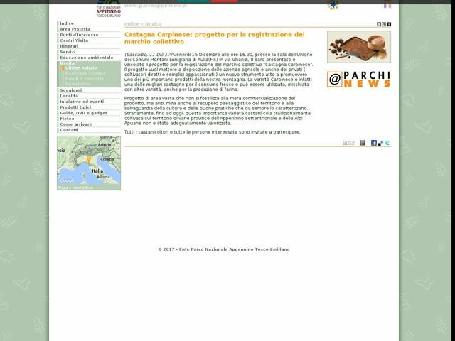 PN Appennino Tosco-Emiliano - Castagna Carpinese: progetto per la registrazione del marchio collettivo