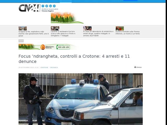 Focus 'ndrangheta, controlli a Crotone: 4 arresti e 11 denunce