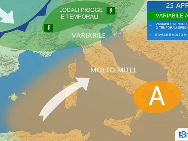 METEO Italia - primi SEGNALI DI CAMBIAMENTO al Nord, stabile e mite fino al 25 al Nord