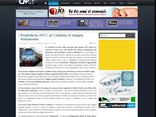 Pendolaria 2017, in Calabria si viaggia lentamente