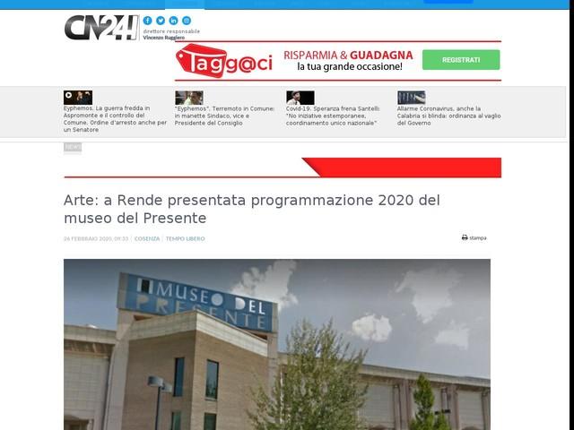 Arte: a Rende presentata programmazione 2020 del museo del Presente