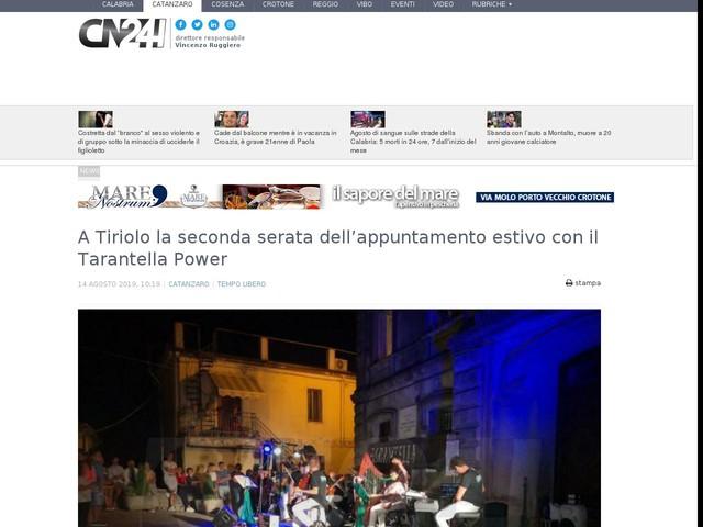 A Tiriolo la seconda serata dell'appuntamento estivo con il Tarantella Power