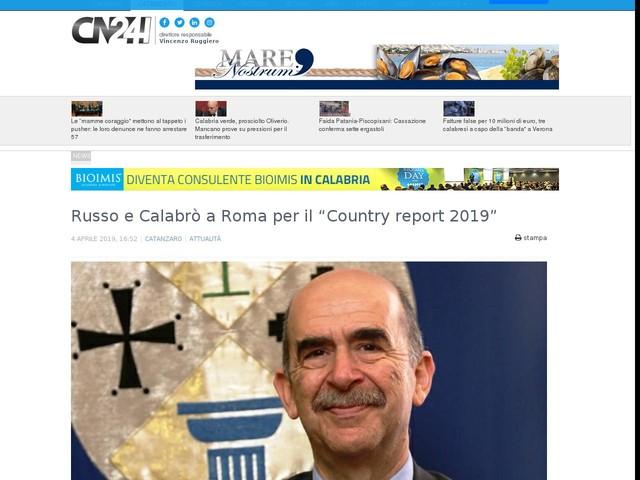 """Russo e Calabrò a Roma per il """"Country report 2019"""""""