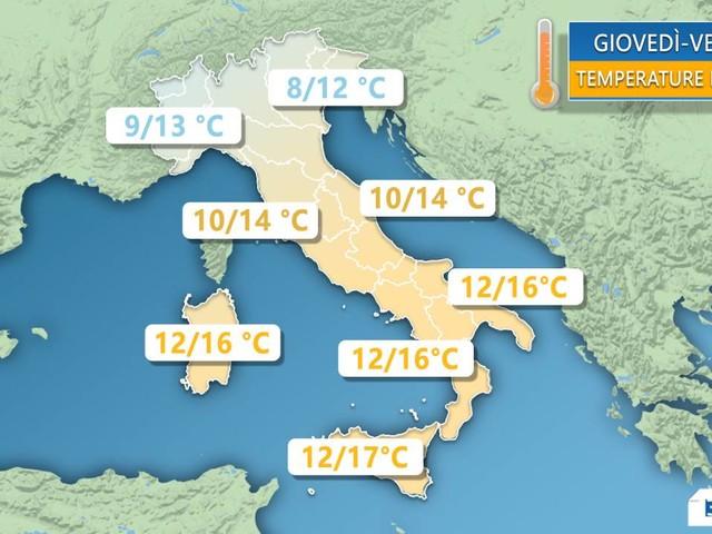 TEMPERATURE - Clima non troppo FREDDO fino a venerdì, calo abbassamento termico nel WEEKEND