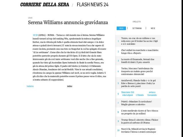 Serena Williams annuncia gravidanza