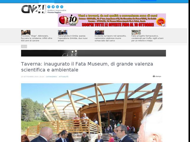 Taverna: inaugurato il Fata Museum, di grande valenza scientifica e ambientale