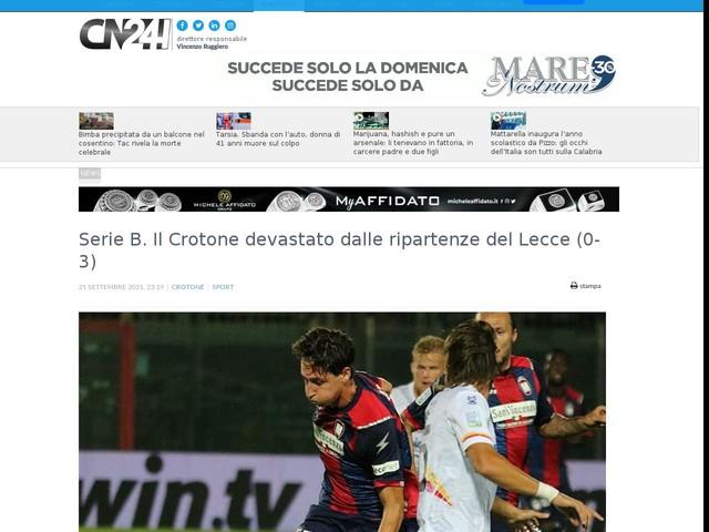 Serie B. Il Crotone devastato dalle ripartenze del Lecce (0-3)