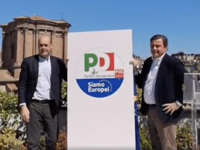 Europee, il segretario Pd Zingaretti presenta il simbolo della lista unitaria con Gentiloni e Calenda