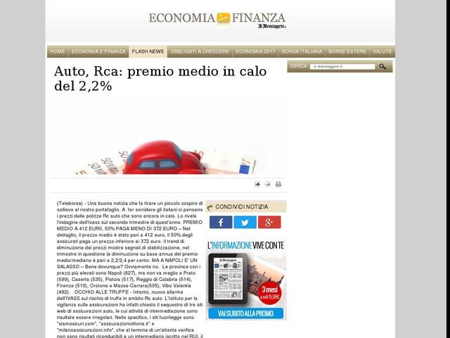 Auto, Rca: premio medio in calo del 2,2%