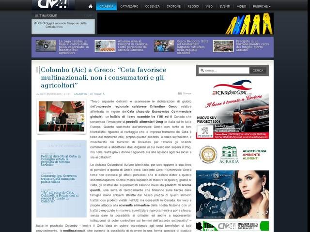 """Colombo (Aic) a Greco: """"Ceta favorisce multinazionali, non i consumatori e gli agricoltori"""""""