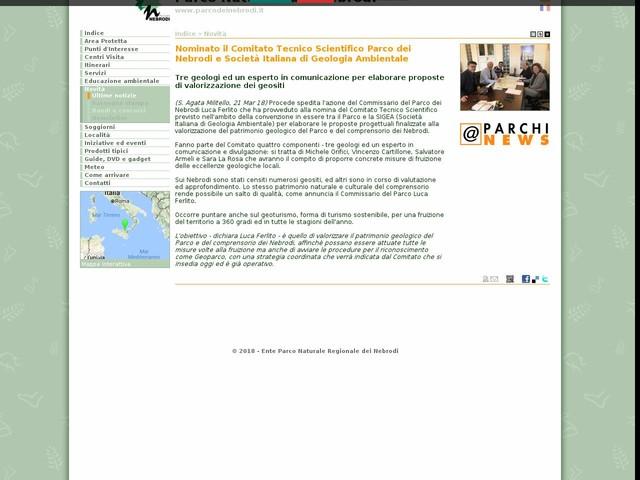 PR Nebrodi - Nominato il Comitato Tecnico Scientifico Parco dei Nebrodi e Società Italiana di Geologia Ambientale