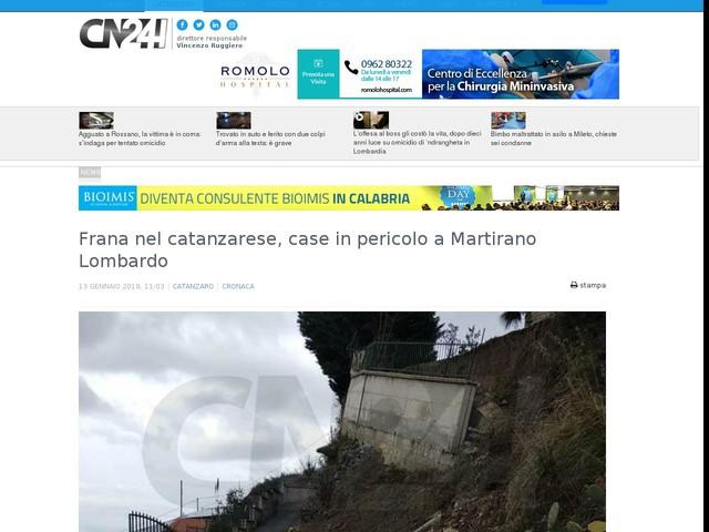 Frana nel catanzarese, case in pericolo a Martirano Lombardo