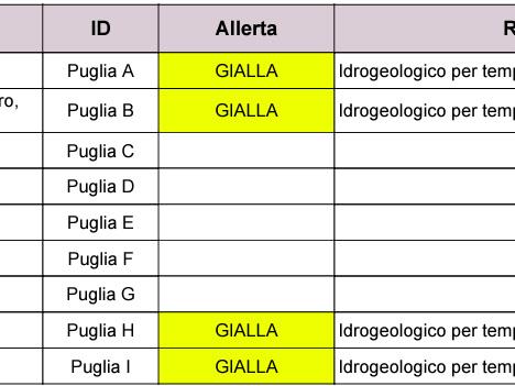 Puglia: maltempo, allerta per temporali nel pomeriggio. Codice giallo per il foggiano Protezione civile, previsioni meteo