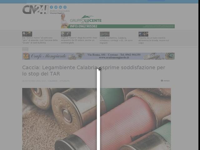 Caccia: Legambiente Calabria esprime soddisfazione per lo stop del TAR