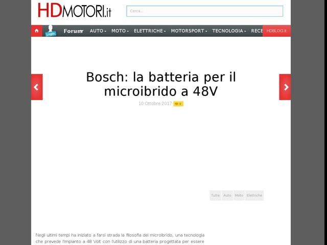 Bosch: la batteria per il microibrido a 48V
