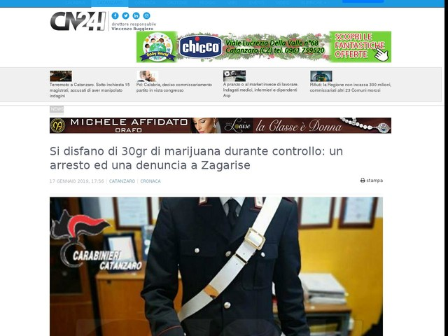 Si disfano di 30gr di marijuana durante controllo: un arresto ed una denuncia a Zagarise