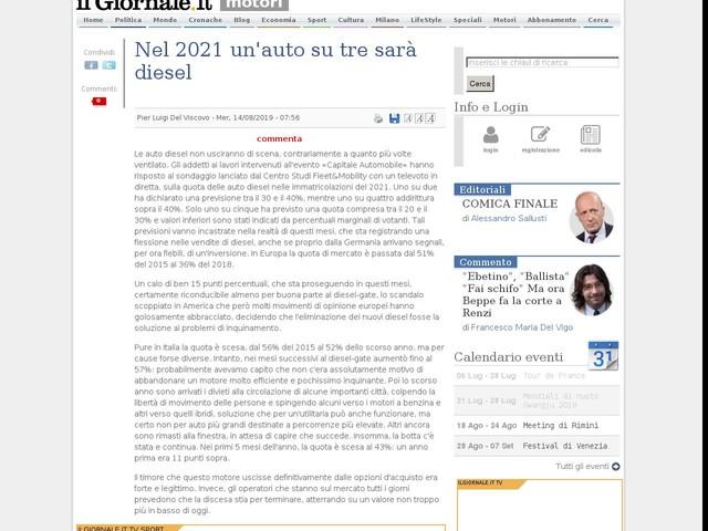 Nel 2021 un'auto su tre sarà diesel