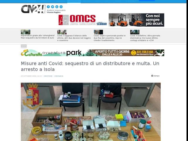 Misure anti Covid: sequestro di un distributore e multa. Un arresto a Isola