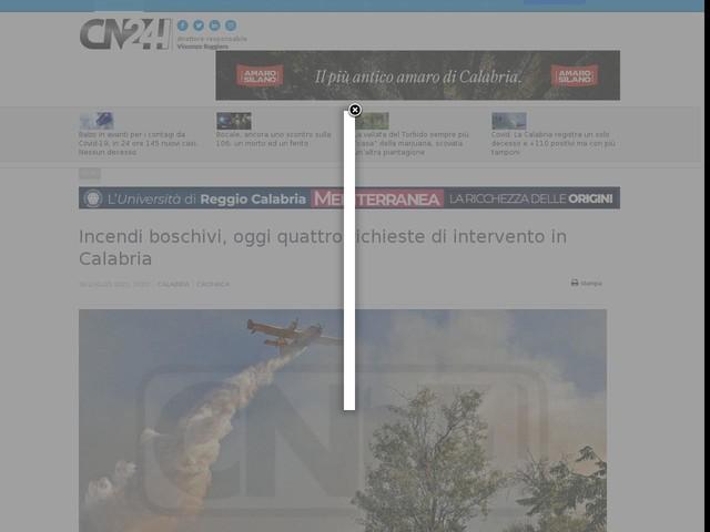 Incendi boschivi, oggi quattro richieste di intervento in Calabria