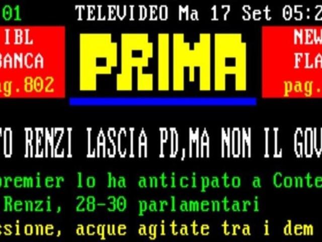 """Scissione Pd, per il Televideo Renzi è diventato """"Matto"""""""