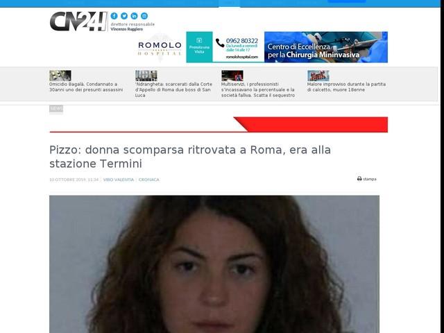 Pizzo: donna scomparsa ritrovata a Roma, era alla stazione Termini