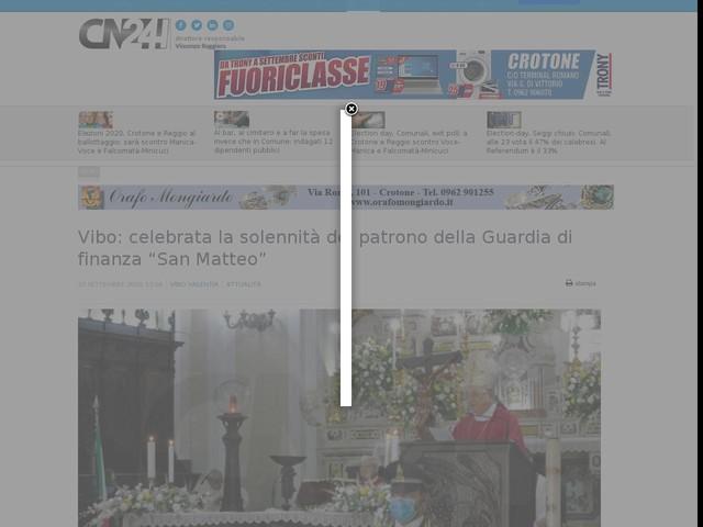 """Vibo: celebrata la solennità del patrono della Guardia di finanza """"San Matteo"""""""