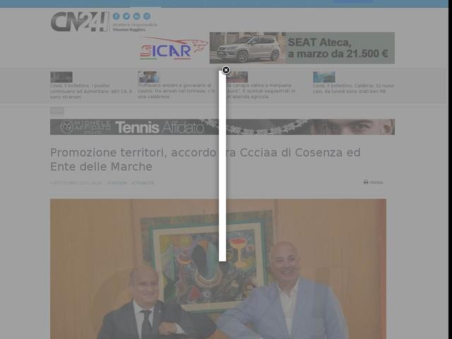 Promozione territori, accordo tra Ccciaa di Cosenza ed Ente delle Marche