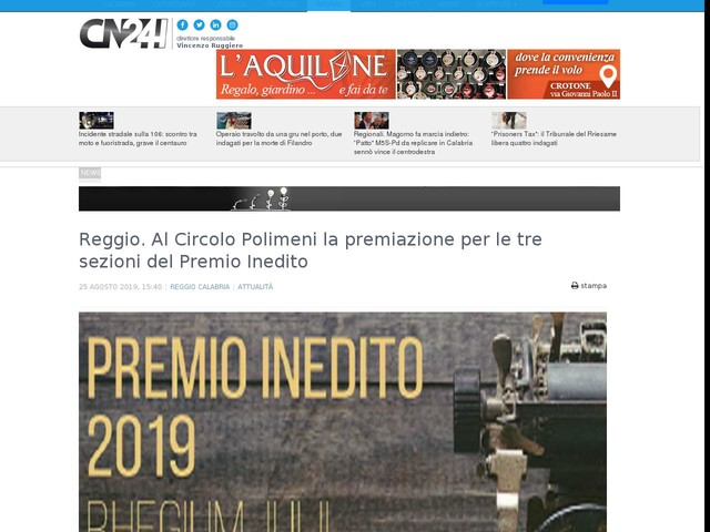 Reggio. Al Circolo Polimeni la premiazione per le tre sezioni del Premio Inedito