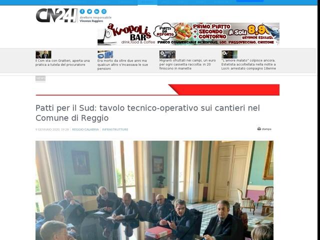 Patti per il Sud: tavolo tecnico-operativo sui cantieri nel Comune di Reggio