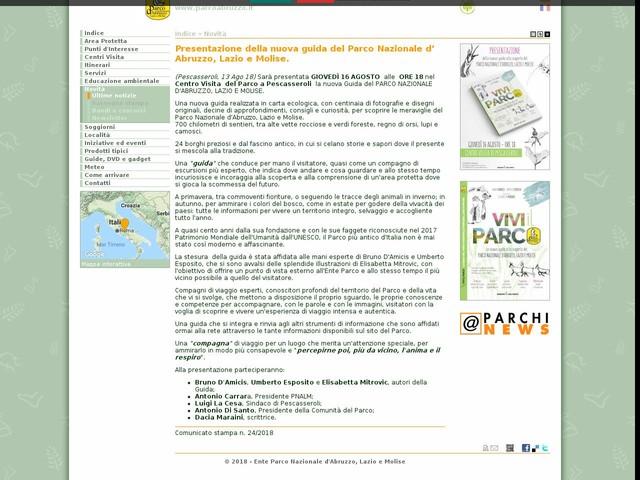 PN Abruzzo, Lazio e Molise - Presentazione della nuova guida del Parco Nazionale d' Abruzzo, Lazio e Molise.