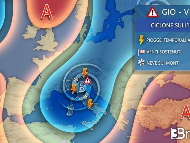 Meteo. PROSSIME 48 ORE con il MALTEMPO. Attesi piogge, temporali, vento e NEVE