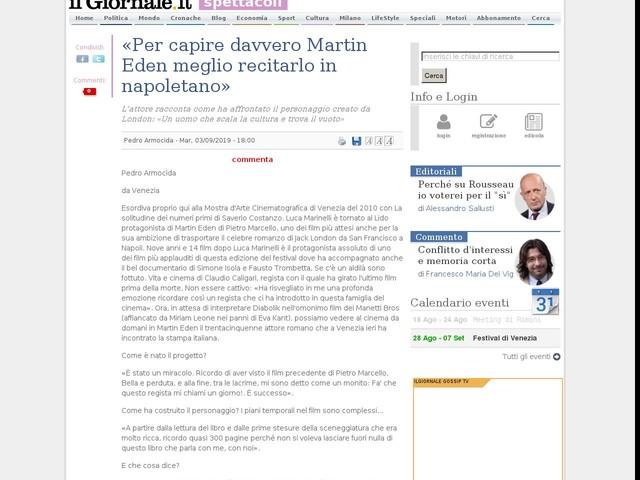 «Per capire davvero Martin Eden meglio recitarlo in napoletano»