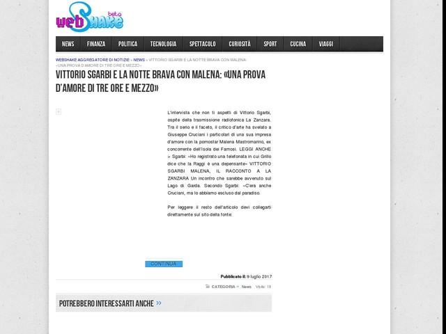 Vittorio Sgarbi e la notte brava con Malena: «Una prova d'amore di tre ore e mezzo»