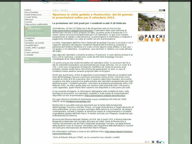PN Arcipelago Toscano - Ripartono le visite guidate a Montecristo: dal 28 gennaio le prenotazioni online per il calendario 2021.