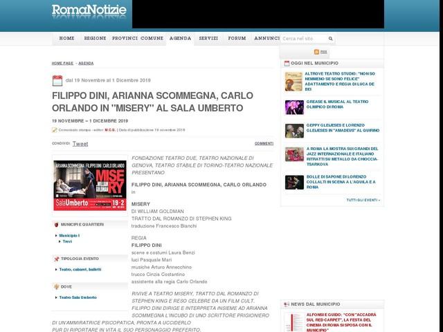 "FILIPPO DINI, ARIANNA SCOMMEGNA, CARLO ORLANDO in ""MISERY"" al SALA UMBERTO"