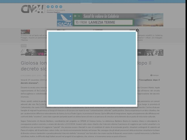 """Gioiosa Ionica: incontro sul tema """"L'accoglienza dopo il decreto sicurezza"""""""